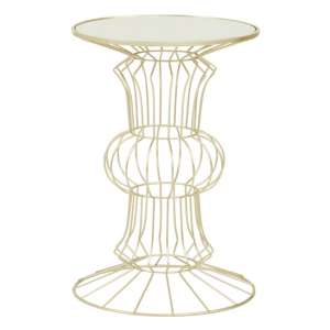 Xuange Round White Mirrored Top Side Table In Light Gold Frame