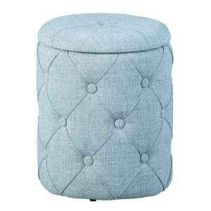 Yapak Fabric Storage Ottoman Stool In Grey
