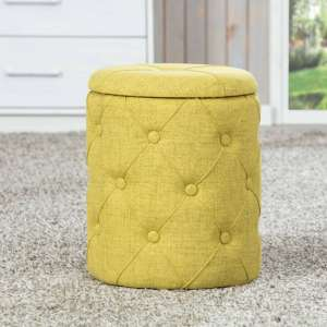 Yapak Fabric Storage Ottoman Stool In Yellow Green