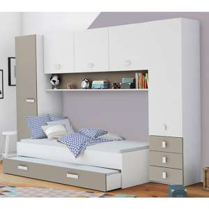 Yodi Single Bed In Matt White And Clay With Overhead Storage