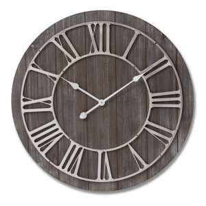 Yorkers Wooden Wall Clock In Brown With Nickel Detail