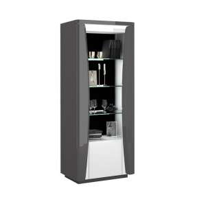 Zaire Display Cabinet In White And Anthracite With LED
