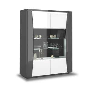 Zaire Large Display Cabinet In White And Anthracite With LED