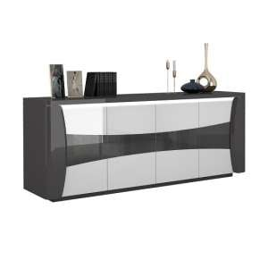 Zaire Large Sideboard In White And Anthracite Gloss With LED