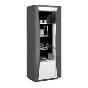 Zaire LED Display Cabinet In Grey And Anthracite Gloss With 1 Door