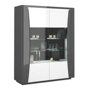 Zaire LED Display Cabinet In Grey And Anthracite Gloss With 2 Doors