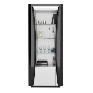 Zaire LED Display Cabinet In White And Anthracite Gloss With 1 Door