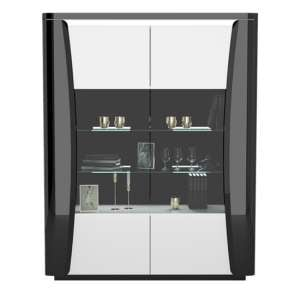Zaire LED Display Cabinet In White And Anthracite Gloss With 2 Doors