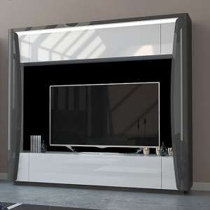 Zaire LED Entertainment Unit In Grey And Anthracite High Gloss