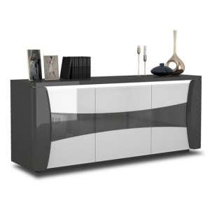 Zaire LED Sideboard In Grey And Anthracite High Gloss With 3 Doors