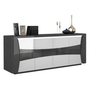 Zaire LED Sideboard In Grey And Anthracite High Gloss With 4 Doors