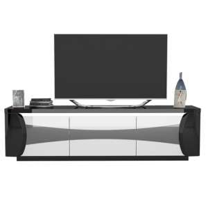 Zaire LED TV Stand In Black And White High Gloss With 3 Doors