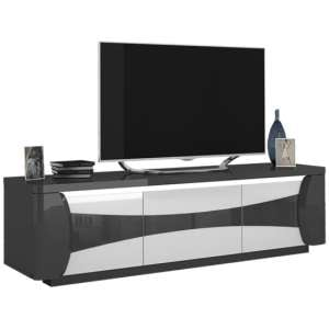 Zaire LED TV Stand In Grey And Anthracite High Gloss With 3 Doors