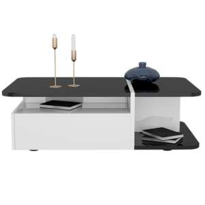 Zaire Storage Coffee Table In Black And White High Gloss