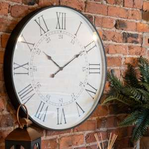 Zamia Large Embossed Station Wooden Wall Clock In White
