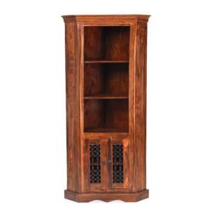 Zander Wooden Corner Display Unit In Sheesham Hardwood