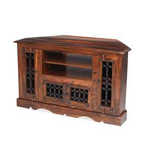 Zander Wooden Corner TV Stand In Sheesham Hardwood With 4 Doors