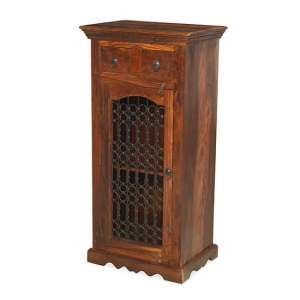 Zander Wooden Hi-Fi Cabinet In Sheesham Hardwood With 1 Door