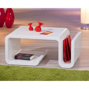 Zara High Gloss Coffee Table With Magazine Rack In White