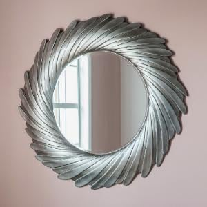 Zarah Contemporary Wall Mirror Round In Silver