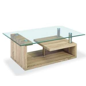 Zariah Glass Coffee Table Rectangular In Clear With Oak Frame
