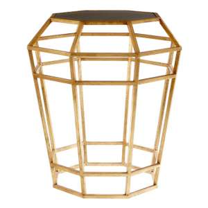 Zaroca Drum Shaped Glass Side Table In Gold Frame
