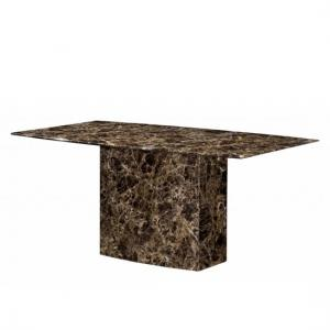 Zelder Marble Dining Table Rectangular In Brown