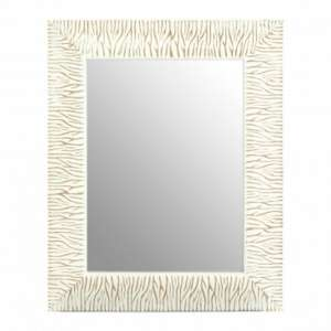 Zelman Wall Bedroom Mirror In Antique White Brushed Gold Frame