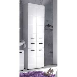 Zenith Bathroom Floor Storage Cabinet In White With Gloss Fronts