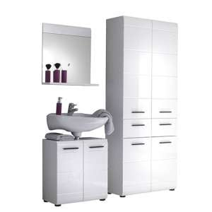 Zenith Bathroom Furniture Set 4 In White With High Gloss Fronts