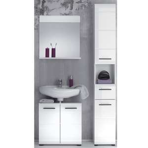 Zenith Bathroom Furniture Set 6 In White With High Gloss Fronts