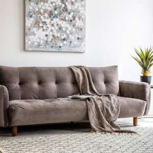 Zenko Contemporary Fabric Sofa In Titanium Velvet
