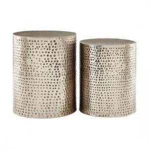 Zephir Set Of 2 Stools Round In Antique Nickel