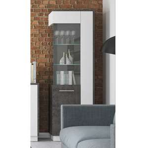 Zinger LED Left Handed Glass Display Cabinet In Grey And White