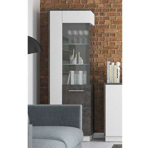 Zinger LED Right Handed Glass Display Cabinet In Grey And White