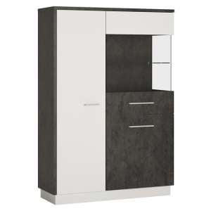 Zinger Right Handed Low Wooden Display Cabinet In Grey And White