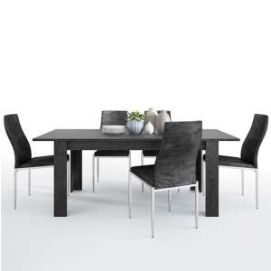 Zinger Wooden Extending Dining Table With 6 Mexa Black Chairs