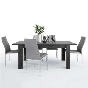 Zinger Wooden Extending Dining Table With 6 Mexa Grey Chairs