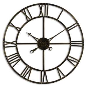 Zulia Small Skeleton Metal Wall Clock In Antique Brass